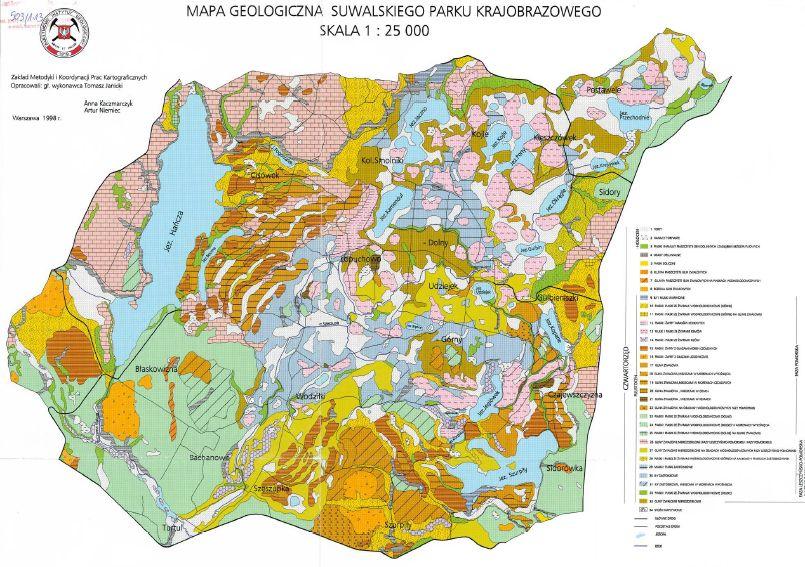 Mapa geologiczna Suwalskiego Parku Krajobrazowego w skali 1:25000 do pobrania w pliku .pdf