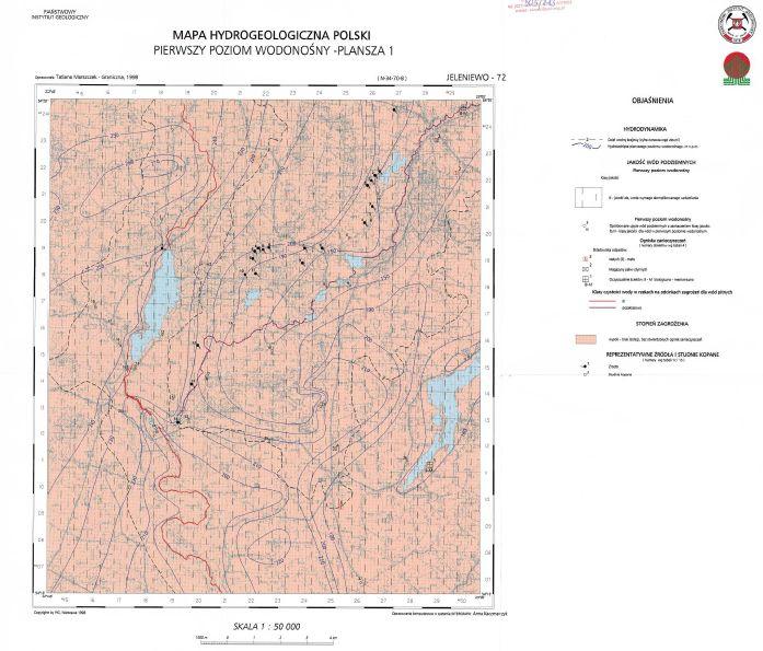 Mapa Hydrogeologiczna w skali 1:50000 do pobrania w pliku .pdf