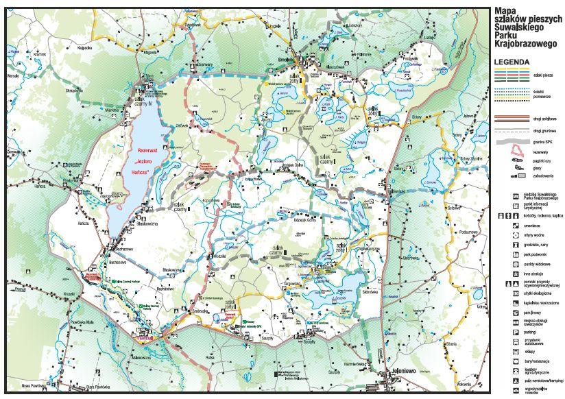Mapa szlaków pieszych Suwalskiego Parku Krajobrazowego do pobrania w pliku .pdf