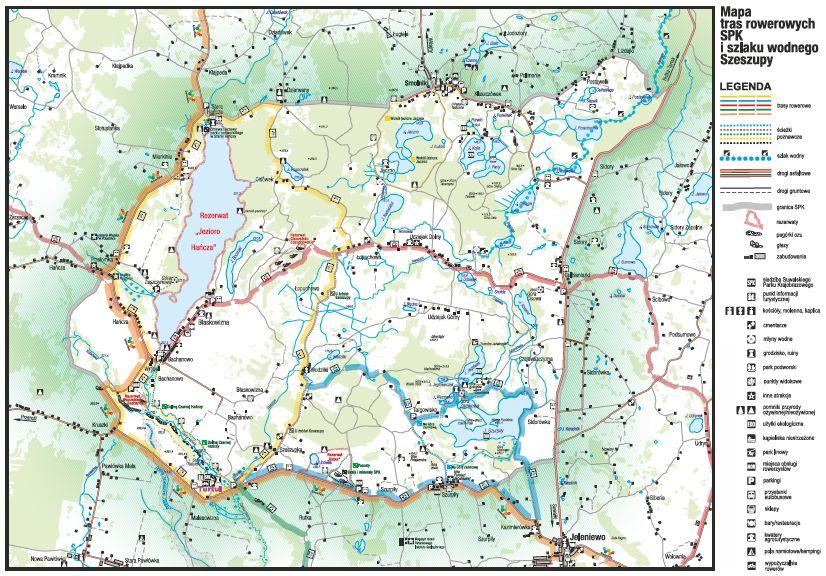 Mapa tras rowerowych i szlaku wodnego Szeszupy