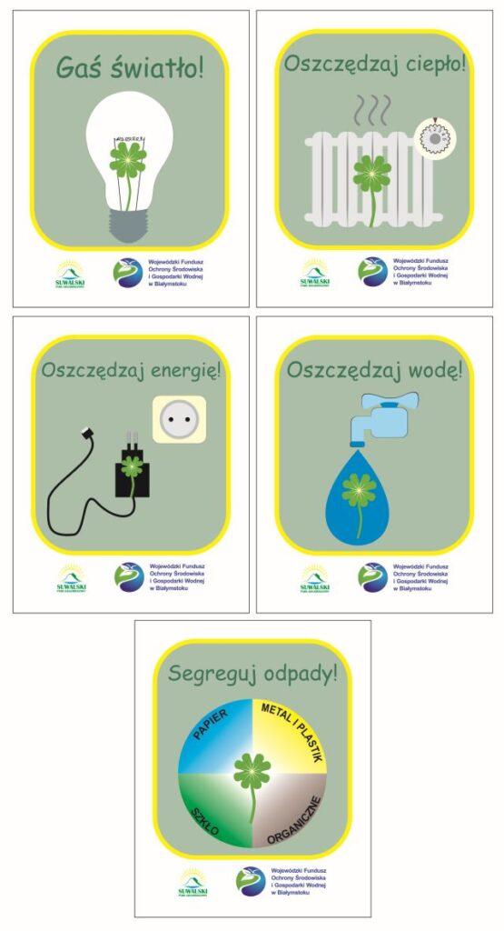 """Naklejki edukacyjne: """"Oszczędzaj energię!"""", """"Gaś światło!"""", """"Oszczędzaj wodę!"""", """"Segreguj odpady!"""", """"Oszczędzaj ciepło!"""""""