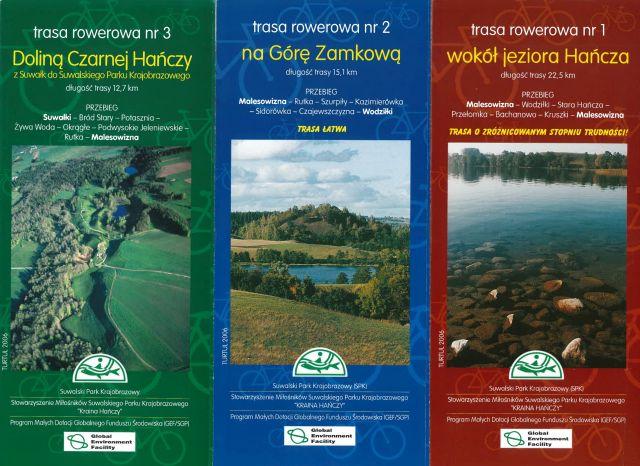 Trasy rowerowe: Doliną Czarnej Hańczy, Na Górę Zamkową, Wokół jeziora Hańcza