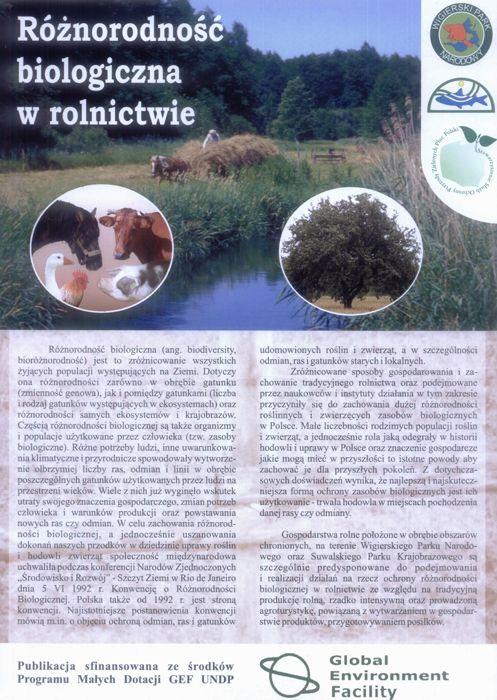 Ulotka Różnorodność biologiczna w rolnictwie