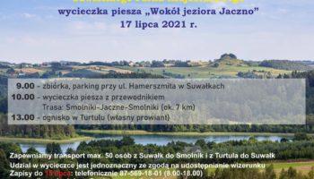 """plakat promujący wycieczkę pieszą """"Wokół jeziora Hańcza"""""""