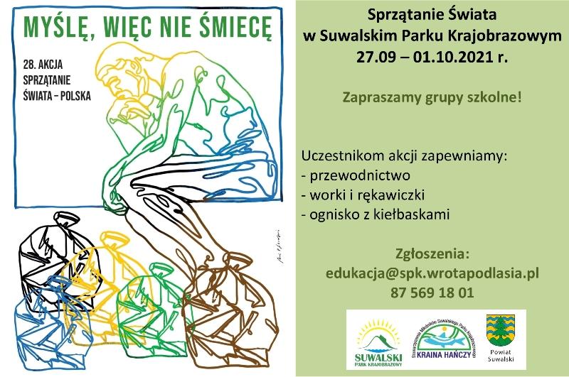 """plakat """"Sprzątanie Świata w Suwalskim Parku Krajobrazowym"""""""